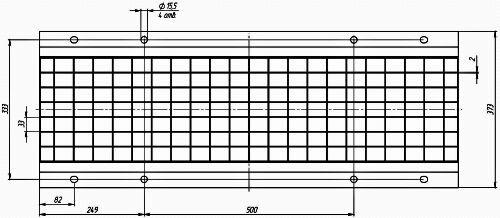 Чертеж: Решетка водоприемная РВ -30.37.100 - стальная ячеистая оцинкованная, кл. A15