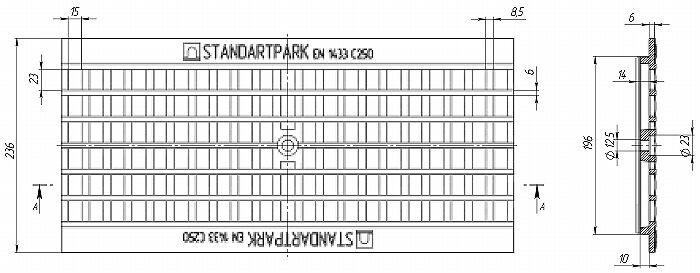 Решетка водоприемная Basic РВ-20.24.50 ячеистая чугунная ВЧ, кл.С 25403