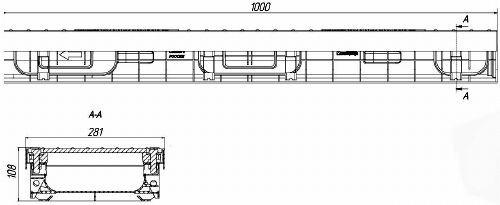 Лоток водоотводный PolyMax ЛВ-20.28.08-ПП пластиковый с решеткой щелевой чугунной ВЧ кл. Е (комплект)