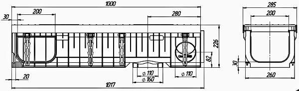 Лоток водоотводный PolyMax ЛВ-20.29.23-ПП пластиковый с решеткой щелевой чугунной ВЧ кл. Е