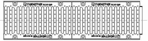 Комплект: лоток водоотводный MAXI ЛВ-20.29.23 пластиковый с решеткой водоприемной ВЧ-50, кл. E