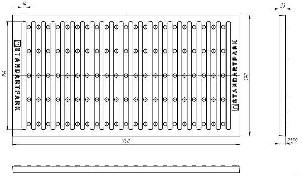 Решетка водоприемная РВ-75.40-СЧ-Щ3 СЧ-20 Кл.C 75х40