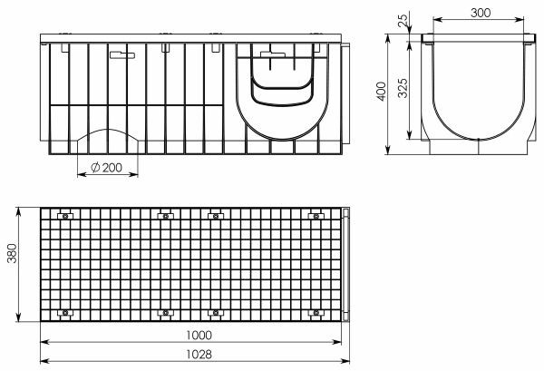Чертеж 1. Комплект Gidrolica Light ЛВ-30.38.39,6 с решеткой