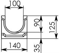 Схема 1: Лоток водоотводный ЛВ-10.14.13 - бетонный
