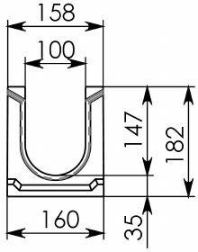 Схема 1: Лоток водоотводный ЛВ-10.16.18,2 - бетонный