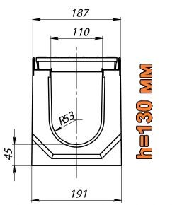 Схема: лоток Maxi DN110 H130