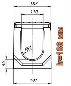 Схема: лоток Maxi DN110 H180