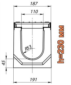 Схема: лоток Maxi DN110 H230