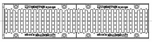 Вид с верху: лоток водоотводный Maxi ЛВ-16.25.10 бетонный (Паркинг)