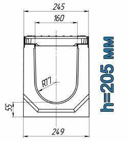Схема: лоток Maxi ЛВ-16.25.21 бетонный