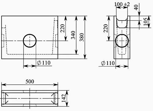 Схема: BGU Пескоуловитель DN100, ширина 140, 500/140/385