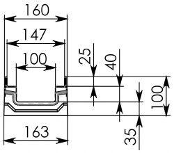 Схема 1: Бетонный лоток BGF-Z DN100, h 100, без уклона
