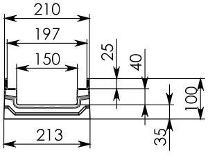 Схема 1: Бетонный лотокBGF-Z DN150, h 100, без уклона