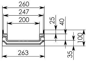 Схема 1: Бетонный лотокBGF-Z DN200, h 100, без уклона