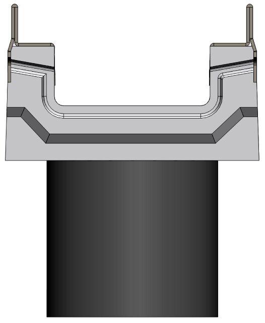 Вид слева: BGF-Z лоток с вертикальным водосливом