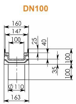 Лоток BGF-Z DN100 H100 с вертикальным водосливом
