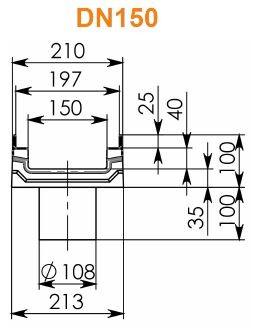 Лоток BGF-Z DN150 H100 с вертикальным водосливом
