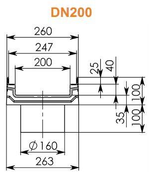 Лоток BGF-Z DN200 H100 с вертикальным водосливом