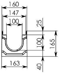 Схема 1: Бетонный лоток BGU-Z DN100, №0, без уклона