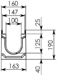 Схема 1: Бетонный лоток BGU-Z DN100, №5-0, без уклона