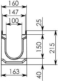 Схема 1: Бетонный лоток BGU-Z DN100, №10-0, без уклона