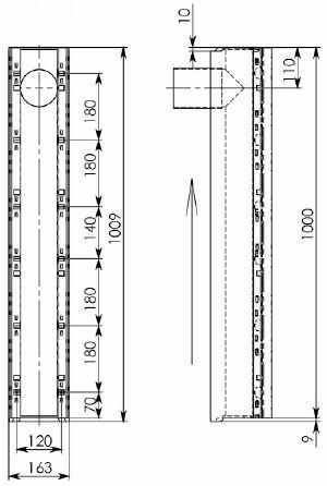 Cхема лотка BGU-Z DN100 с вертикальным водоотводом