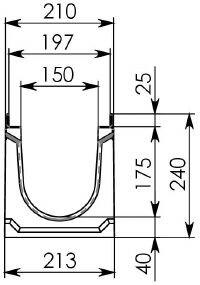 Схема 1: Бетонный лоток BGU-Z DN150, №5-0, без уклона