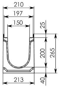 Схема 1: Бетонный лоток BGU-Z DN150, №10-0, без уклона