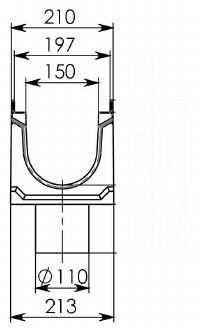 Cхема лотка BGU-Z DN150 с вертикальным водоотводом