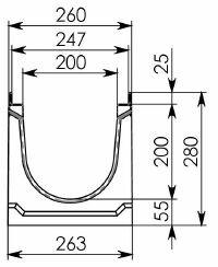 Схема 1: Бетонный лоток BGU-Z DN200, №0, без уклона