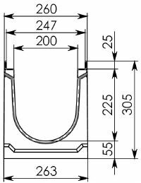Схема 1: Бетонный лоток BGU-Z DN200, №5-0, без уклона