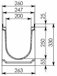Схема 1: Бетонный лоток BGU-Z DN200, №10-0, без уклона
