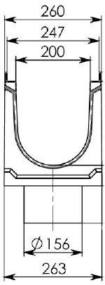 Cхема лотка BGU-Z DN200 с вертикальным водоотводом