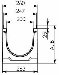 Чертеж BGU-Z DN200 с уклоном