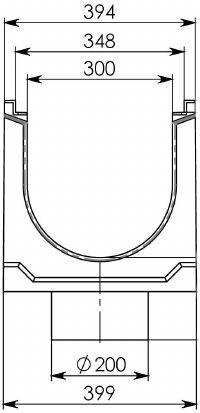 Cхема лотка BGZ-S DN300 с вертикальным водоотводом