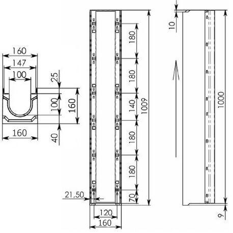 Чертеж лотка BetoMax Drive ЛВ-10.16.16-Б