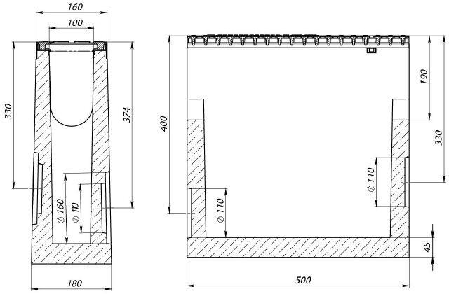 Чертеж: пескоуловитель BetoMax Drive ПУ-10.16.50 бетонный