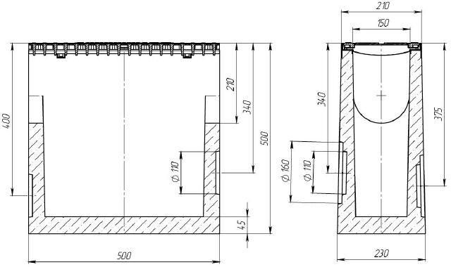 Чертеж: пескоуловитель BetoMax Drive ПУ-15.21.50 бетонный