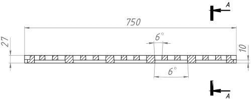 Вид спереди: Решетка 750*200*27 - чугунная, кл. D400