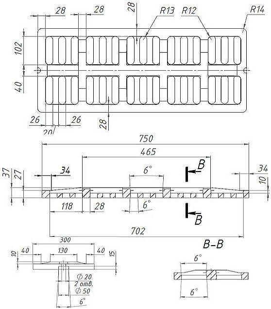Решетка водоприемная СЧ 750*300*27 - чугунная, кл. D400