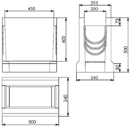 Чертеж: BGU пескоуловитель DN200 500/340/500, верхняя часть