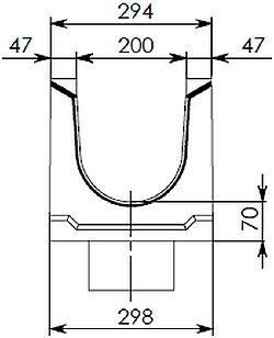 Типовая схема лотка BGU DN200 с вертикальным водоотводом
