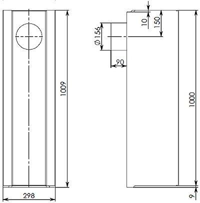 Типовая чертеж лотка BGU DN200 с вертикальным водоотводом