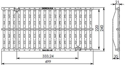 Чертеж решетки Super РВ-20.24.50 чугунной, кл. D400