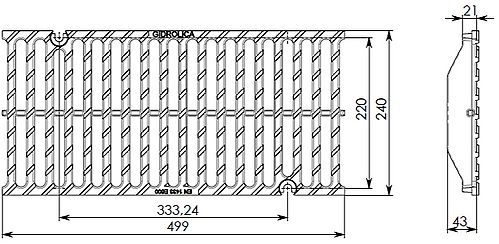 Чертеж решетки Super РВ-20.24.50 чугунной, кл. E600