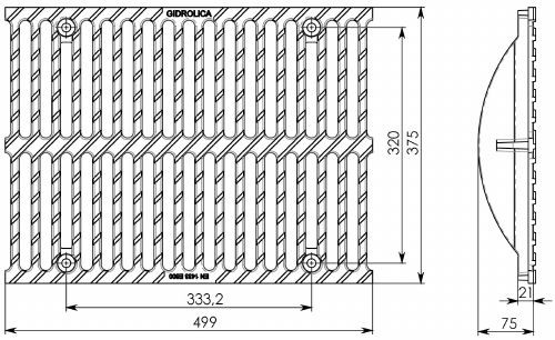 Чертеж решетки Super РВ-30.37,5.50 чугунной, кл. E600