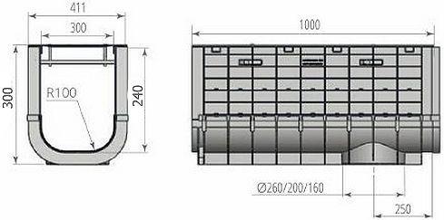 Чертежный вид: Лоток ЛВП PROFI PLASTIK DN300 H300 PARK с решеткой