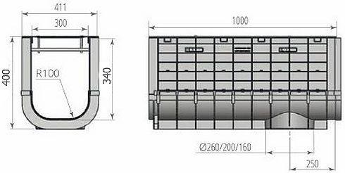 Чертежный вид: Лоток ЛВП PROFI PLASTIK DN300 H400 PARK с решеткой