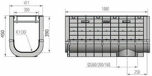Чертежный вид: Лоток ЛВП PROFI PLASTIK DN300 H450 PARK с решеткой