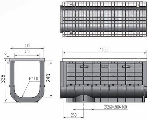 Чертежный вид: Лоток ЛВП Profi DN300 Н325 A15 с решеткой